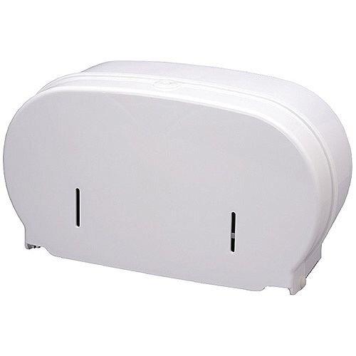 2Work Micro Twin Toilet Roll Plastic Dispenser White DIS840