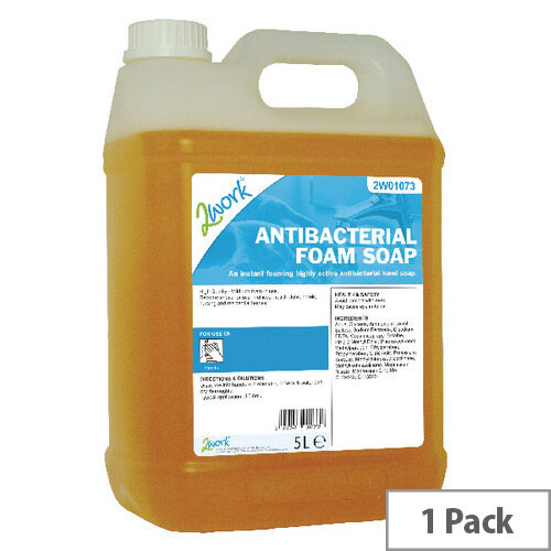 2Work Antibacterial Foaming Hand Soap Refill 5L (Pack 1) 2W01073