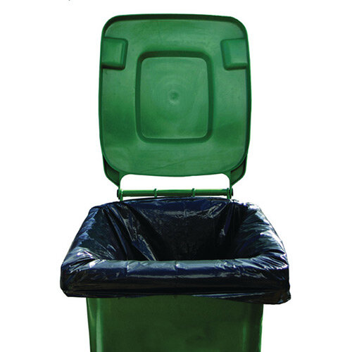 2Work Black Wheelie Bin Liners Medium Duty. Pack Of 100 Bin Liners With Capacity Of 270 Liters. Made From 100% Recycled Material. Ideal For Use In Schools, Colleges, Offices, Homes &More.