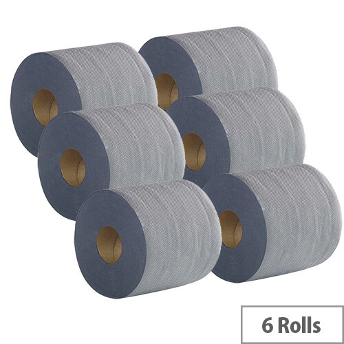 2Work Economy Centrefeed Roll 2-Ply 100m Blue Pack of 6 2W03010