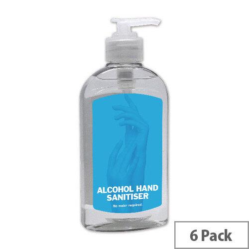 2Work Alcohol Hand Sanitiser Pump 300ml Pack of 6 AHS222
