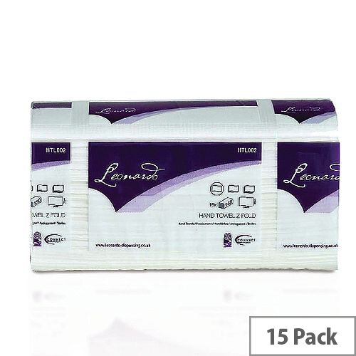 2Work White 2 Ply M-Fold Paper Hand Towels 150 Towels Per Sleeve 15 Sleeves (2250 Sheets) HTL003