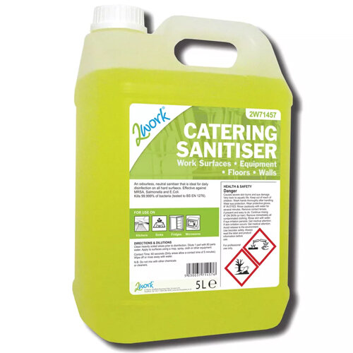 2Work Catering Neutral Odourless Sanitiser Disinfectant Solution 5 Litre Pack 1