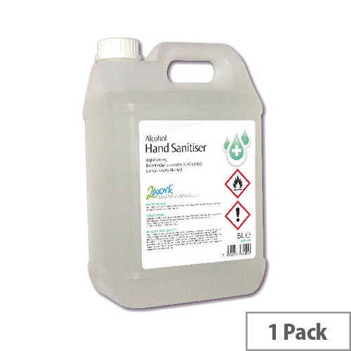 2Work Hand Sanitiser 5 Litre Refill Bottle (Pack 1) 222