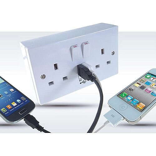2 Way Power Socket with USB Chargers