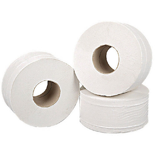 2Work Mini Jumbo 76mm Core Dispenser Toilet Paper Rolls Refills Roll 2-Ply White 92mm x200m Pack of 12 J27200