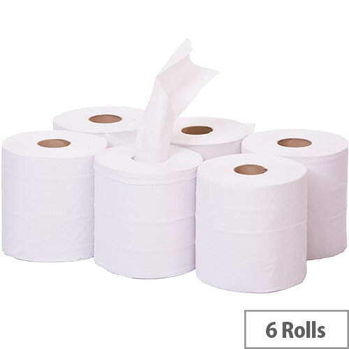 2Work Dispenser Centre Feed Cleaning Paper Towel Rolls 2-Ply 150 Metre White Rolls Pack of 6 C2W150