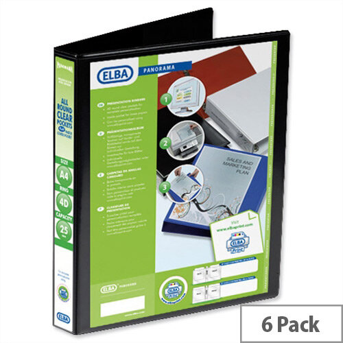 Elba Presentation A4 Ring Binder 25mm Capacity Black 4 D-Ring 560313 Pack 6