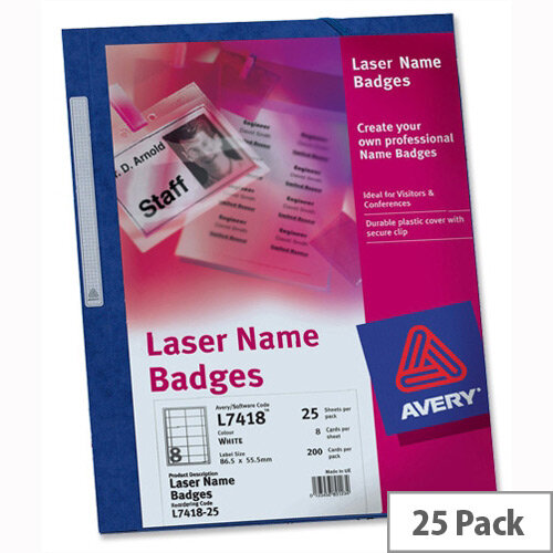 Avery Name Badge Kit Laser W86.5xH55.5mm L7418 25 Sheets
