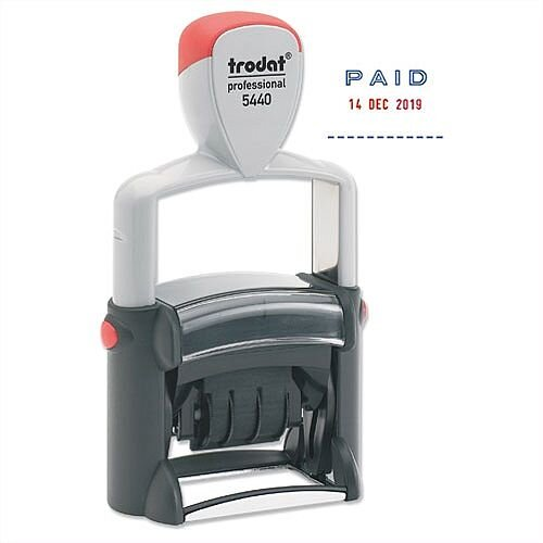 Trodat 5440 L Dater Stamp Text in Blue Date in Red