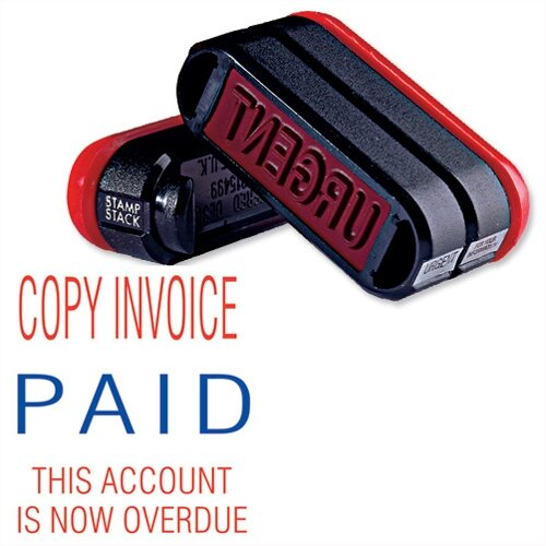Trodat 3-in-1 Accounts Stamp Stack Copy Invoice - Paid - this Account is Now Overdue Stamp 11167