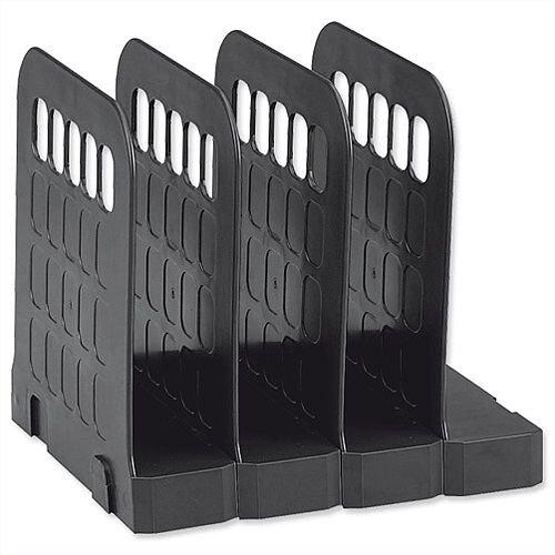 Book Rack Interlocking Base 4 Sections Black Avery Basics