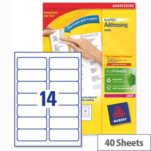 Avery L7163-40 Laser Address Labels 14 per Sheet 99.1x38.1mm White 560 Labels