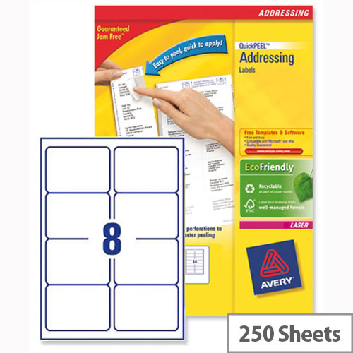 Avery L7165-250 Address Labels Laser 8 per Sheet 99.1x67.7mm White 2000 Labels
