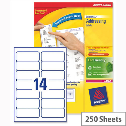 Avery L7163-250 Address Labels Laser 14 per Sheet 99.1x38.1mm White 3500 Labels