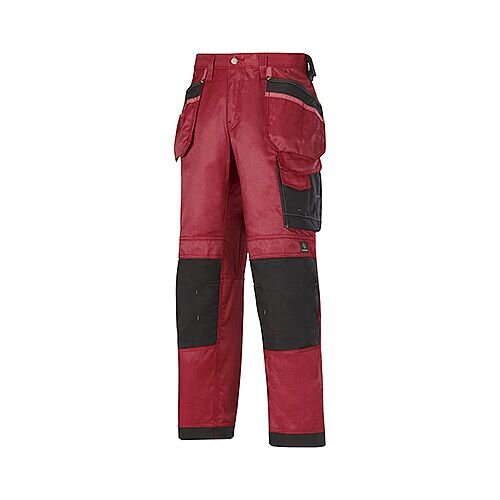 "Snickers 3212 Craftsmen 47""30"" Holster Pocket Trousers DuraTwill Size 120 Red/Black"