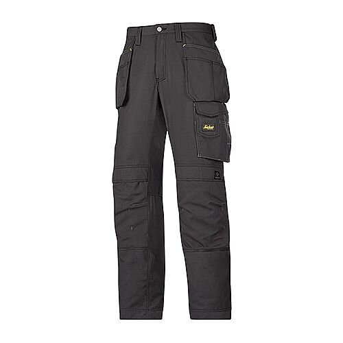 """Snickers 3213 Craftsmen Holster Pocket Trousers Rip-Stop Size 84 30""""/30"""" Black"""