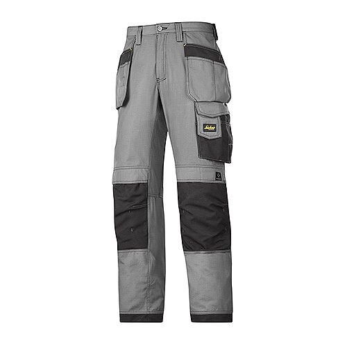 """Snickers 3213 Craftsmen Holster Pocket Trousers Rip-Stop Size 250 35""""/37"""" Grey/Black"""
