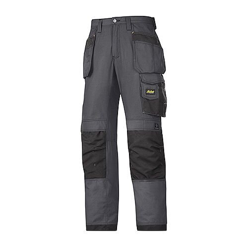 """Snickers 3213 Craftsmen Holster Pocket Trousers Rip-Stop Size 250 35""""/37"""" Steel Grey/Black"""