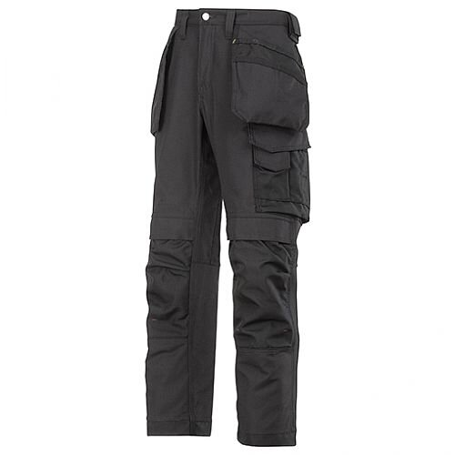 "Snickers Canvas+ Trousers With Holster Pocket Black Waist 47"" Inside leg 30"""
