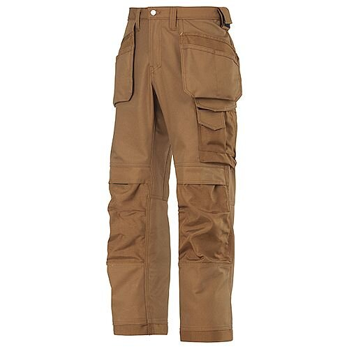 """Snickers Canvas+ Trousers Brown With Holster Pocket Waist 35"""" Inside leg 32"""""""