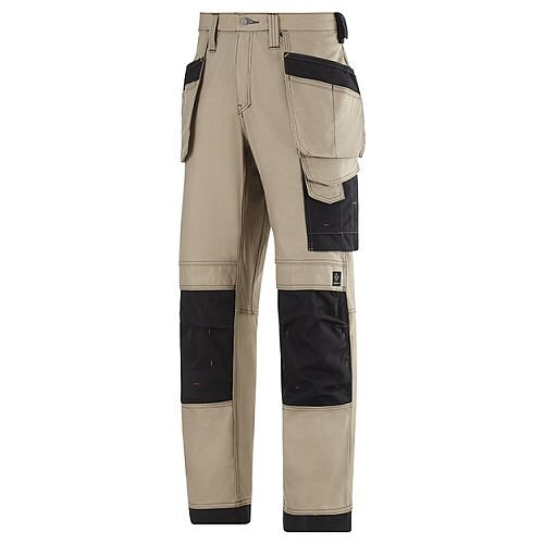"Snickers 3214 Craftsmen Holster Pocket Trousers Canvas+ Size 104 38""/30"" Khaki/Black"