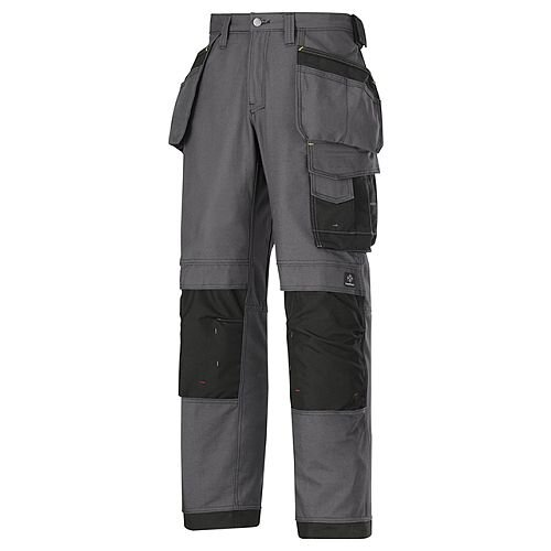 """Snickers 3214 Craftsmen Holster Pocket Trousers Canvas+ Size 248 33""""/37"""" Steel Grey/Black"""