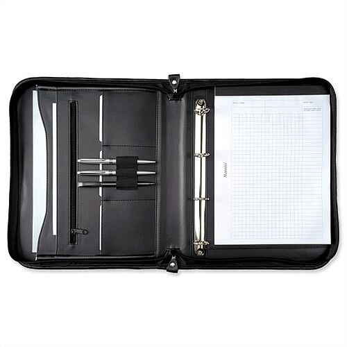 5 Star Office Zipped Conference A4 Portfolio Case With 4 Ring Binder - Capacity 20mm Leather Look A4 Black - Smaller compartments, pen loops and a slot for a memo pad