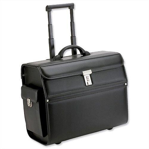 Pilot Case Trolley Laptop Compartment 2 Combination Locks Leather-Look Black Alassio Mondo