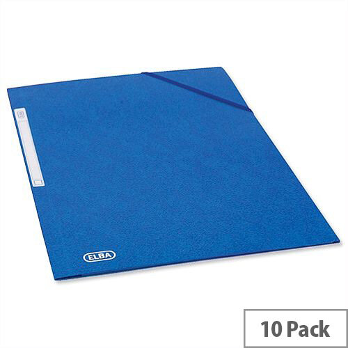 Elba Elasticated Folder 3 Flap 300 Sheets A4 Foolscap Blue Pack 10