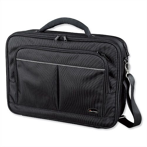 "Lightpak Executive Laptop Bag Padded Multi-section Nylon Capacity 17"" Black"