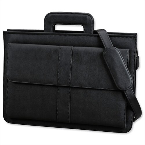 Alassio Document Case Multi-section Zipped with Shoulder Strap Leather-look Black Ref 41024