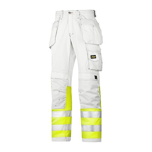 "Snickers 3234 Painters High-Vis Trousers Class 1 Size 58 41""/32"" White/Hi-Vis Yellow"
