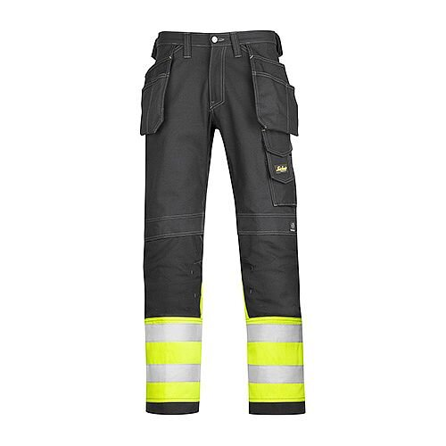 "Snickers 3235 High-Vis Holster Pocket Cotton Trousers Class 1 Size 104 38""/30"" Black/Hi-Vis Yellow"