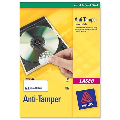 Avery L6113-20 Anti-Tamper Labels Laser 48TV 45.7x21.2mm 960 Labels