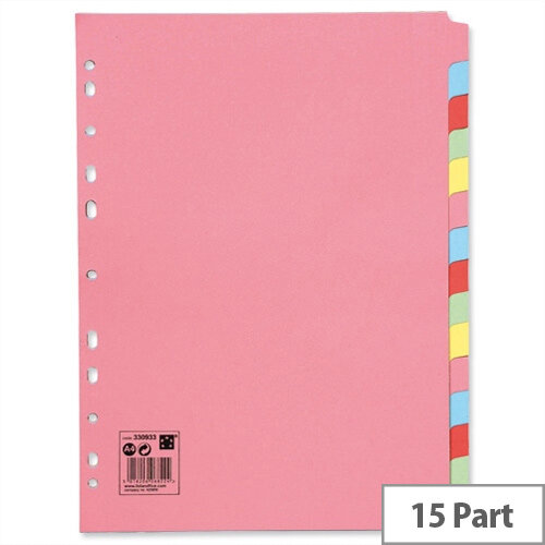 15-Part Subject Dividers A4 Multipunched Recycled Assorted 5 Star
