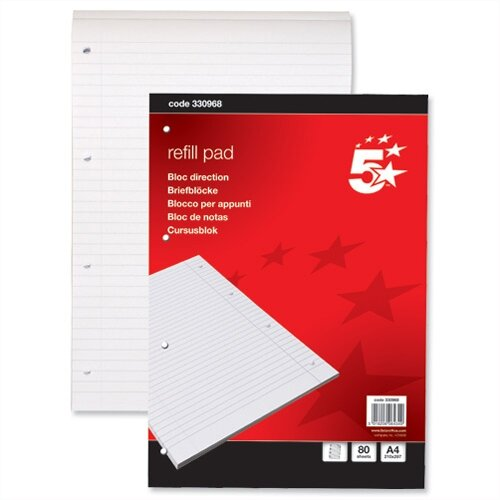 A4 Refill Pad Headbound with Margin 4 Hole Punched 80 Sheets Pack 10 5 Star