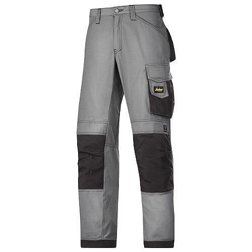 """Snickers 3313 Craftsman Trousers Rip-Stop Grey/Black Waist 38"""" Inside leg 28"""" Size 204"""