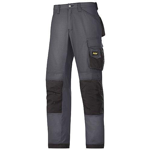 "Snickers 3313 Craftsman Trousers Rip-Stop Steel Grey/Black Waist 35"" Inside leg 37"" Size 250"