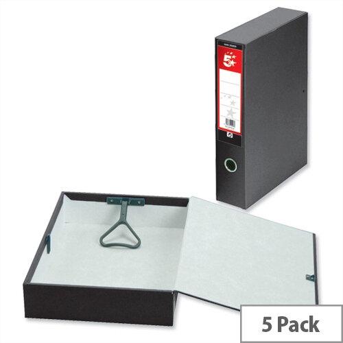 Box File Foolscap Black 70mm Spine Lock Spring Finger Pull 5 Star Pressboard Pack of 5