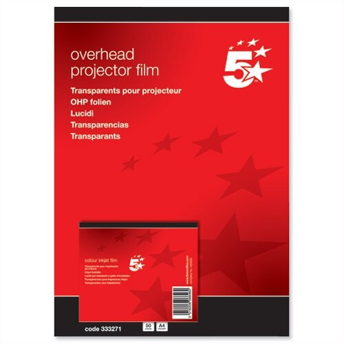 Inkjet OHP Film for HP Machines 100 micron A4 Pack 50 5 Star