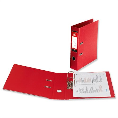 5 Star Office Lever Arch File Polypropylene Capacity 70mm A4 Red Pack of 10
