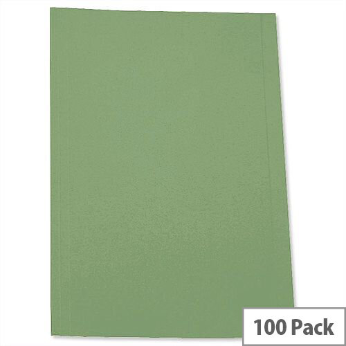 Pre-punched Square Cut Folder Foolscap Green Pack 100 5 Star