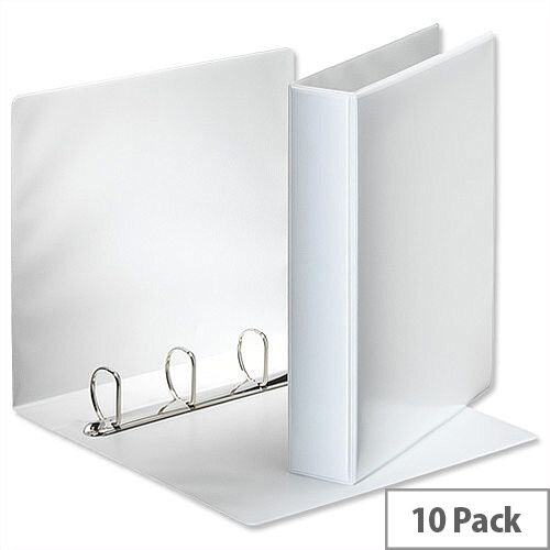 Esselte Presentation Ring Binder A4 White 40mm Size 4 D-Ring 600530/49704 Pack 10
