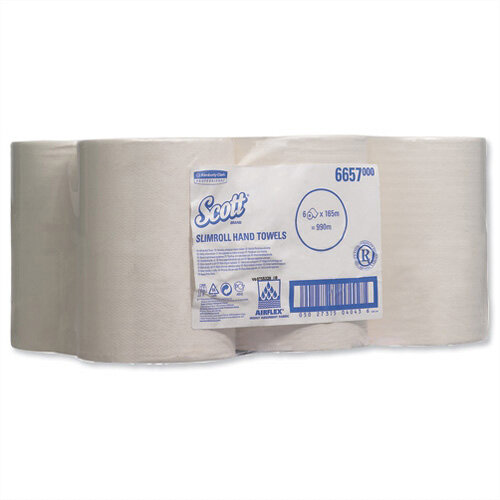 Kimberly Clark Scott White Slimroll 1 Ply Paper Hand Towel Rolls Each 165m Long (6 Rolls) 6657