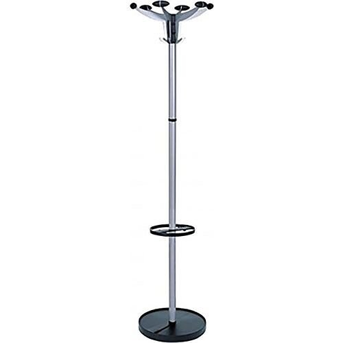Hat and Coat Stand with Umbrella Holder Tubular Steel 4 Hooks 6 Pegs H1750mm Sevilla