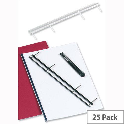 GBC Desktop Velobinder Binding Strips 25mm 4 Prongs Bind 200 Sheets A4 Blue Pack 25