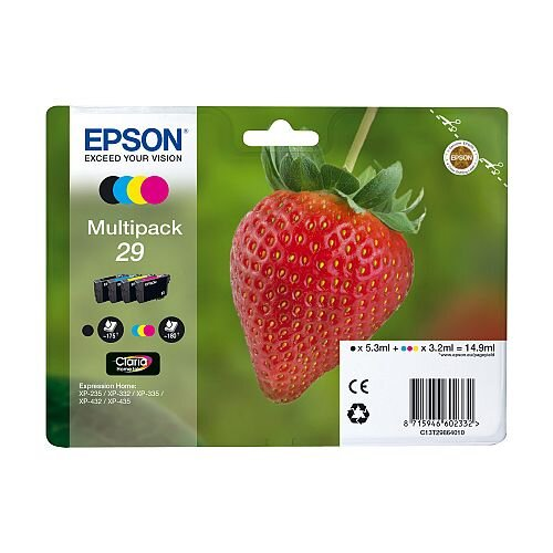 Epson 29 4 Colour Ink Cartridges Strawberry Series Value Pack C13T29864010 / T2986 C13T29864012