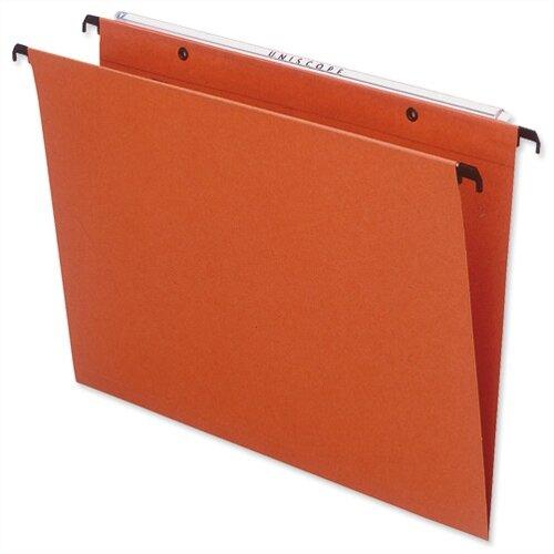 Bantex Linking Vertical Suspension File Foolscap Orange Square Base 30mm Pack 25