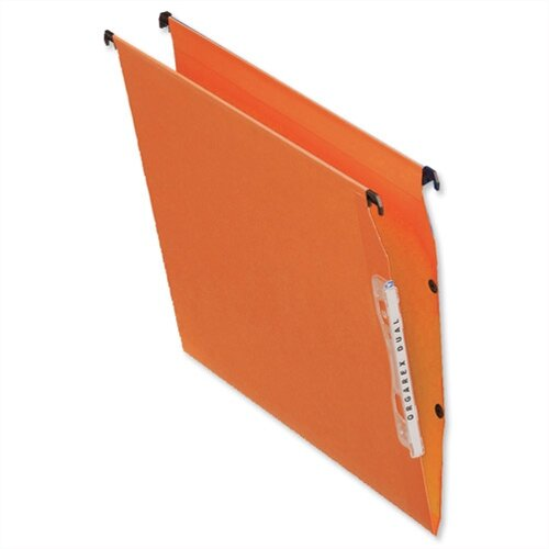 Bantex Linking Lateral Suspension File 330mm Kraft 210gsm  15mm V-base Orange Ref 100330742 [Pack 25]